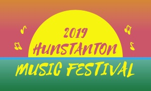 "An image of the sun setting on The Green at Hunstanton with the words ""2019 Hunstanton Music Festival"""