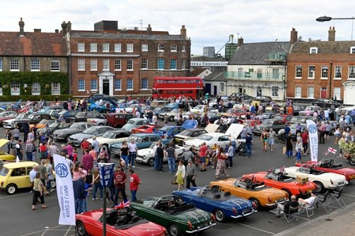 Classic cars on display in the Tuesday Market Place