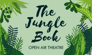 The words 'The Jungle Book' on a banner with a foliage background, advertising the open air theatre event taking place in Hunstanton