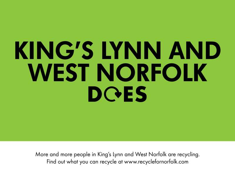 King's Lynn and west Norfolk does. More and more people in King's Lynn and west norfolk are recycling. Find out what you can recycle at www.recyclefornorfolk.com