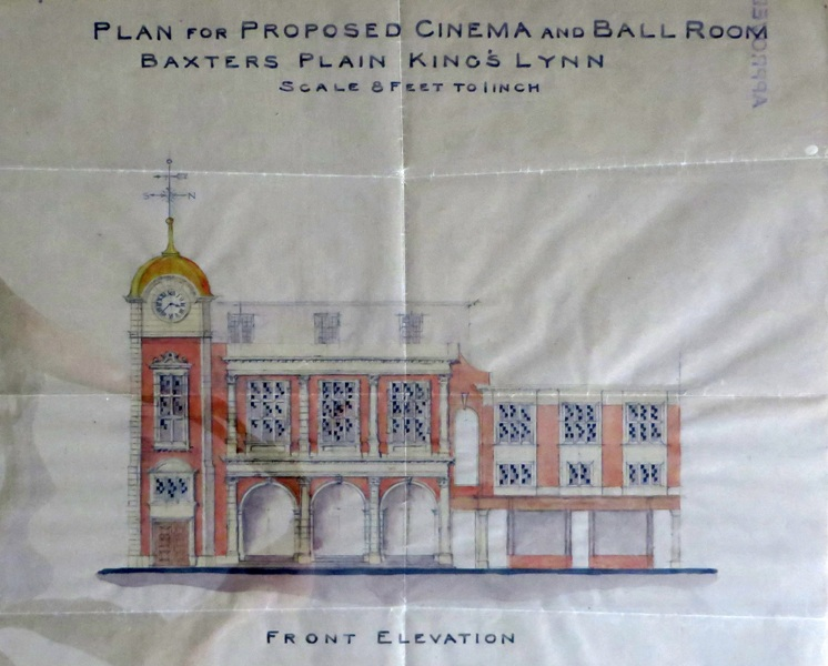 A hand-drawn plan of the front elevation of the Majestic Cinema in King's Lynn