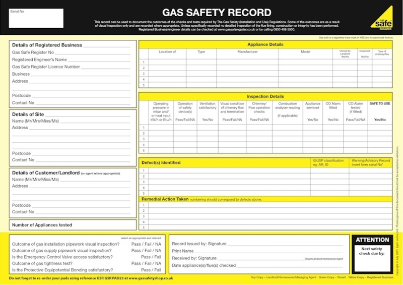 A sample gas safety certificate