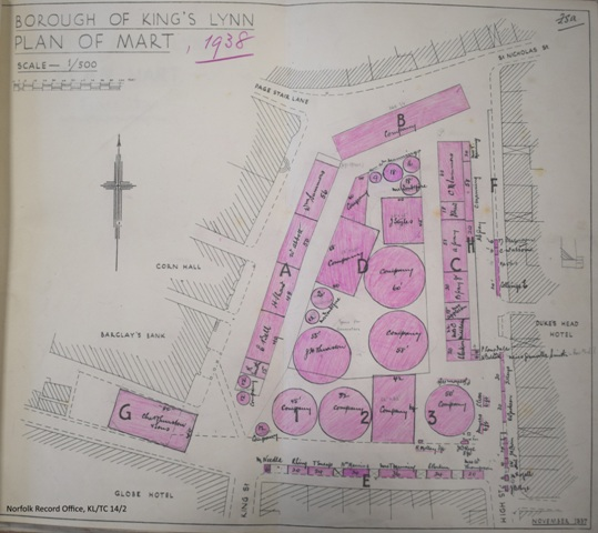 A map of the layout of King's Lynn's Mart in 1938