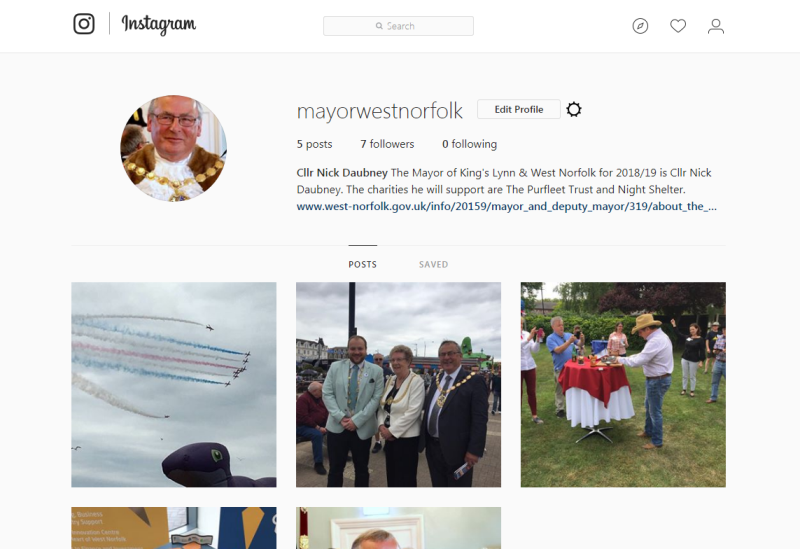 a screenshot of the mayorwestnorfolk instagram account