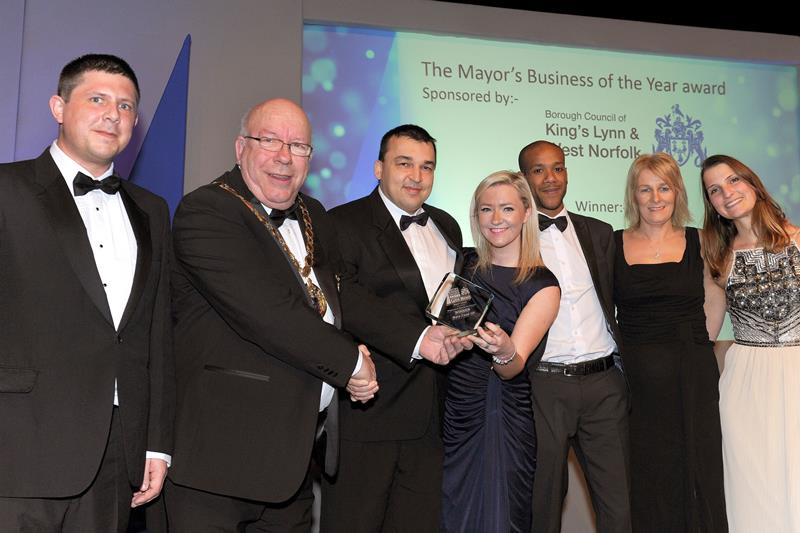 The Mars Food team receive their Business of the Year award from Cllr David Whitby at the award ceremony