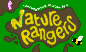 A cartoon image of a muddy puddle in the grass advertising the Nature Rangers event in Hunstanton