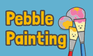 A cartoon image of paint brushes to advertise the pebble painting event in Hunstanton
