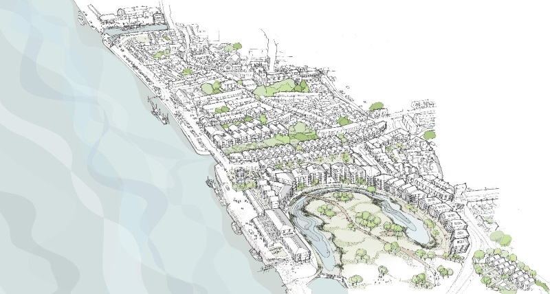 An artist impression of the planned regeneration area in King's Lynn