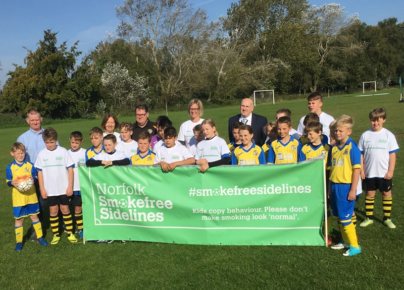 Cllr Nockolds and Shouldham Youth FC launch Smokefree Sidelines in west Norfolk at the first home game of the season
