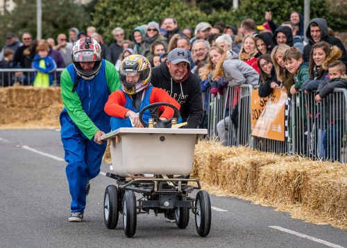 A picture of a Soap Box Derby kart taking part in the Searles Soap Box Derby 2018