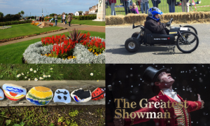 An image with four different pictures displaying events in Hunstanton including the Soap Box Derby and open air cinema