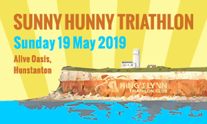 "An image of the Hunstanton cliffs with the words ""Sunny Hunny Triathlon"""