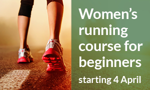 An image of running trainers advertising the women's running course starting 4 April 2019